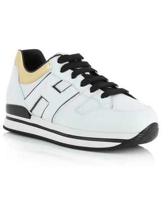 H222 white and gold leather sneakers HOGAN