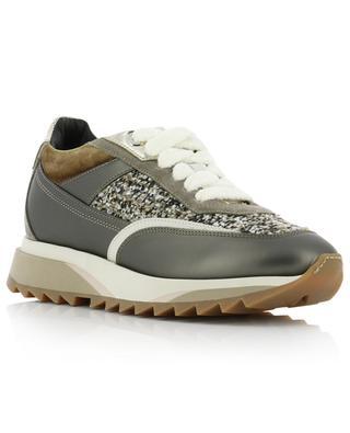Sneakers aus Leder und Tweed SANTONI