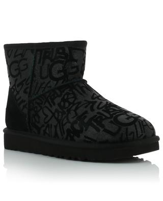 W Classic Mini Sparkle Graffiti shearling lined ankle boots UGG