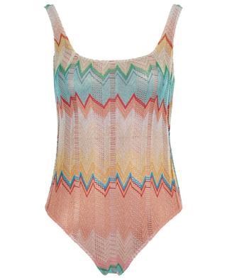Zigzag pattern openwork knitting swimsuit MISSONI MARE