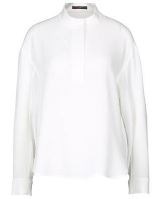 Breezy crepe blouse with stand-up collar WINDSOR