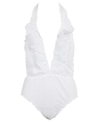 M02VL Troquel  ruffled neck-holder swimsuit COMO UN PEZ EN EL AGUA