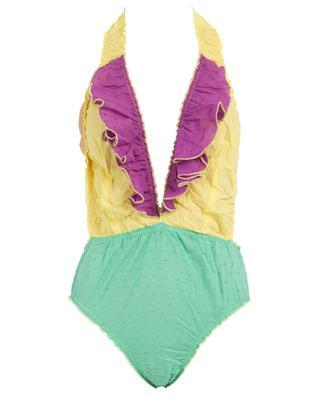 M02VL Plumetti ruffled neck-holder swimsuit COMO UN PEZ EN EL AGUA