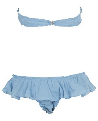 Bikini bandeau à volants T07-B08 Plumetti COMO UN PEZ EN EL AGUA