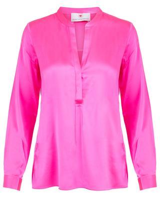 Fliessende neonfarbene Bluse aus Satin HERZEN'S ANGELEHEIT