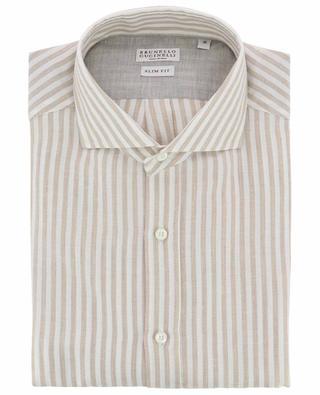 Gestreiftes Hemd aus Baumwolle und Leinen BRUNELLO CUCINELLI