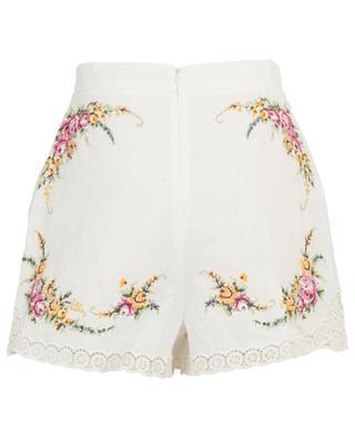 Shorts aus Leinen und Baumwolle mit Kreuzstichstickereien Allia ZIMMERMANN