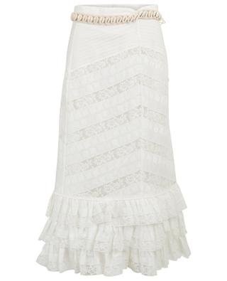 Veneto Perennial lace skirt with shell belt ZIMMERMANN