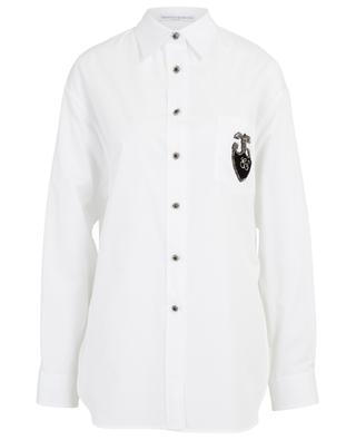 Oversize-Hemd mit glitzerndem Wappenpatch ERMANNO SCERVINO