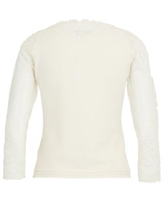 V-neck top with embroidered tulle yoke ERMANNO SCERVINO