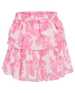 Geblümter Minirock mit Rüschen Pink Gem LOVESHACKFANCY