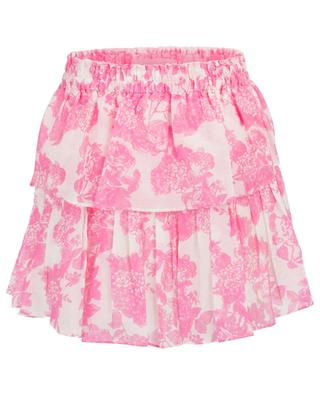 Minijupe fleurie à volants Pink Gem LOVESHACKFANCY