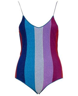 Lumière striped Lurex swimsuit OSEREE
