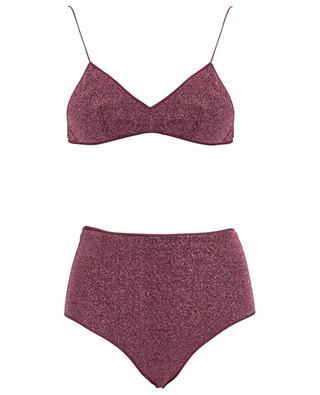 Dreifarbiger Lurex-Bikini Lumière High-waisted Bra OSEREE
