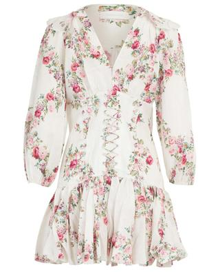 Honour floral linen dress with lacing ZIMMERMANN