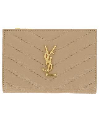Monogram grained leather mini wallet SAINT LAURENT PARIS