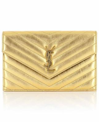 Monogram quilted metallic leather chain wallet SAINT LAURENT PARIS