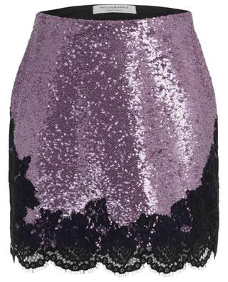 Sequin covered mini skirt with lace PHILOSOPHY