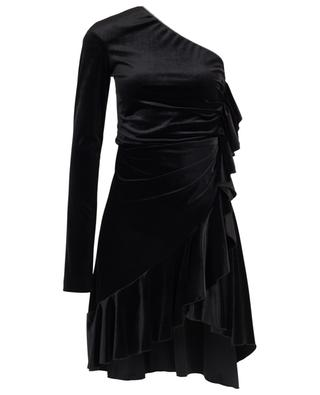 Asymmetrical velvet off-shoulder dress with crystals and ruffles PHILOSOPHY