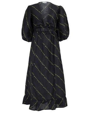 Geblümtes Kleid mit Bauchausschnitt aus Leinen und Seide GANNI