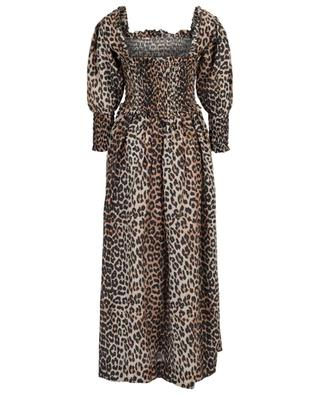 Leopard print maxi dress with square neck GANNI