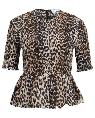 Ruched peplum top with leopard print GANNI