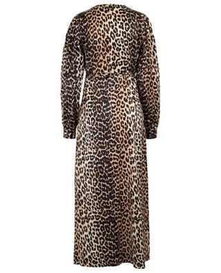 Langes Wickelkleid aus Satin mit Leopardenprint GANNI
