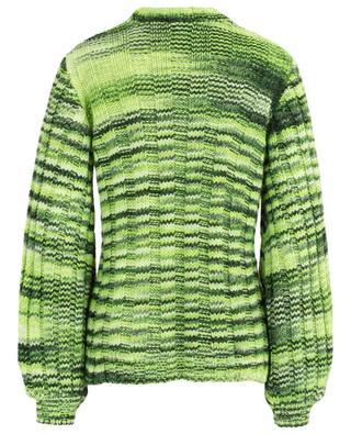 Neon Maize puff sleeve rib knit jumper GANNI