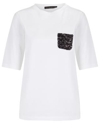 Lässiges T-Shirt mit paillettenbestickter Tasche FABIANA FILIPPI