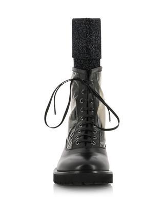 Lara leather booties with glittering sock detail FABIANA FILIPPI
