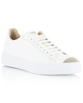 Caterina leater lace-up sneakers with beaded caps FABIANA FILIPPI
