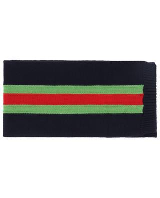 Web Band Intarsia knit scarf GUCCI