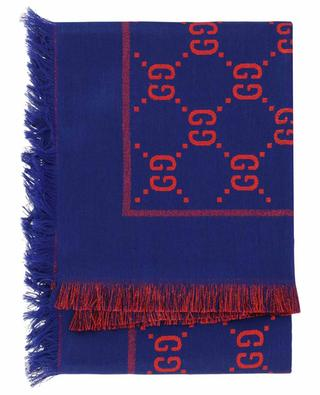 GG logo adorned cotton, wool and silk scarf GUCCI