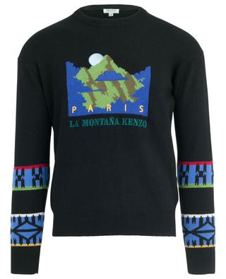 Pull jacquard brodé Mountain Artwork KENZO