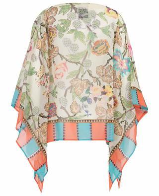 Floral printed silk poncho ETRO