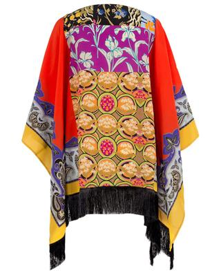 Printed silk poncho with fringes ETRO