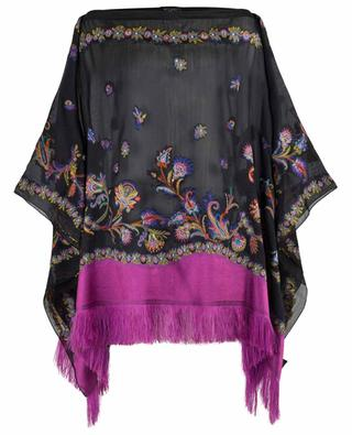 Embroidered silk blend poncho with fringes ETRO
