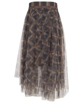 Asymmetrical check print tulle skirt BRUNELLO CUCINELLI