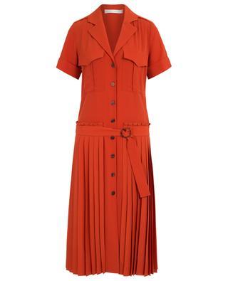 Kleid mit niedriger Taille, Falten und aufgesetzten Taschen VICTORIA BY VICTORIA BECKHAM