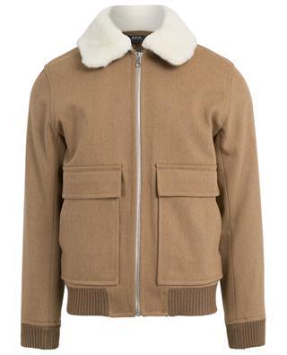 Jacke aus Woll-Twill mit Schafsfelldetail Bronze A.P.C.