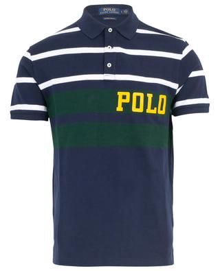 Logo print tricolour striped slim fit polo shirt POLO RALPH LAUREN