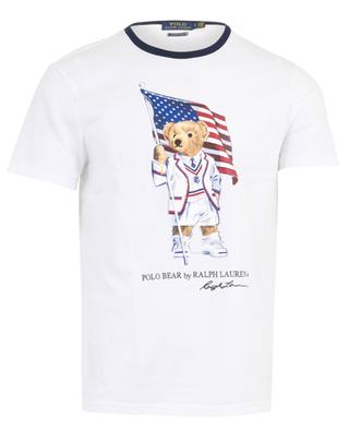 Polo Bear slim fit T-shirt with American flag RALPH LAUREN