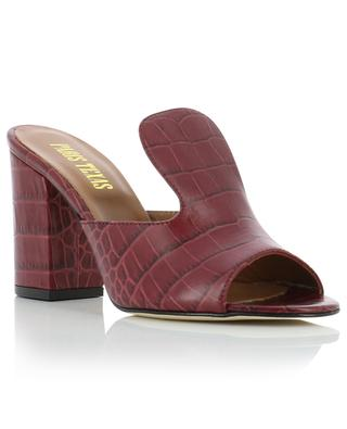 Croc-effect leather mules with block heels PARIS TEXAS