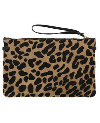 Hermy leopard print leather and calf hair pouch GIANNI CHIARINI