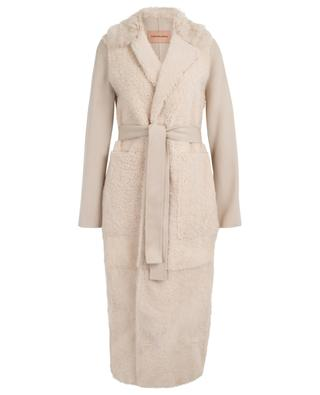 Long shearling and cashmere belted coat YVES SALOMON