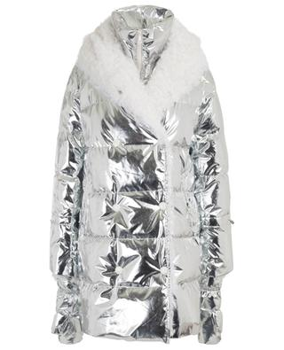 Long silver down jacket with mittens and shearling YVES SALOMON