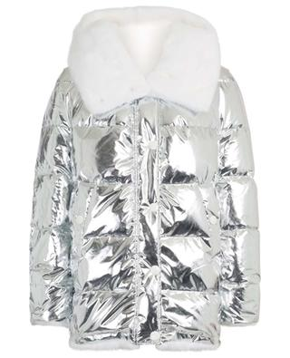 Reversible silver down jacket with mink fur YVES SALOMON