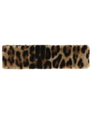 Bandeau en peau lainée imprimé léopard YVES SALOMON