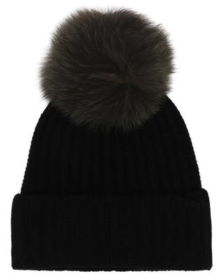 Wool and cashmere beanie with two fur pompons YVES SALOMON