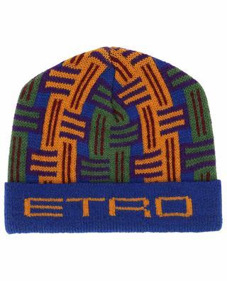 Monogrammed thick wool beanie ETRO